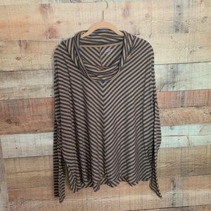 LOFT Tan & Grey Striped Cowl Neck